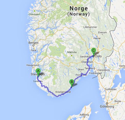 Stavanger A, Arendal B, Oslo C
