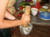 Grinding garlic and shallots