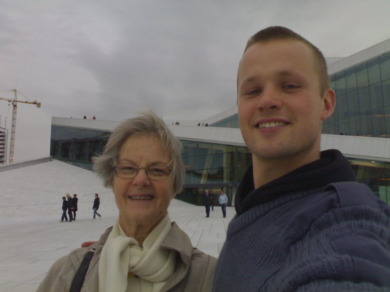 Grandma and me at the opera house in Oslo